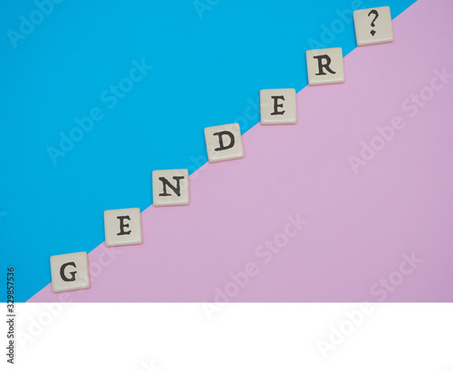 Fototapeta Gender tile letter flat lay on blue and pink colored background for theme of guessing gender of a baby or gender identify. obraz na płótnie