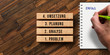 blocks with German message PROBLEM, ANALYSIS, PLANNING, IMPLEMENTATION and SUCCESS on wooden background