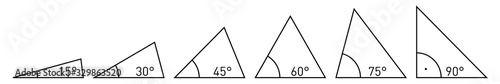 Photo Various acute angles in triangle corners - values from 15 to 90 degrees