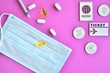 canvas print picture - Travel concept with pills, sterile mask, syringe with vaccines and travel symbols id passport, money and ticket on purple background. Flight cancellation coronavirus pandemic. Coronavirus Covid-19
