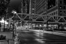 Chicago, Night Traffic Between Bridges And Skyscrapers