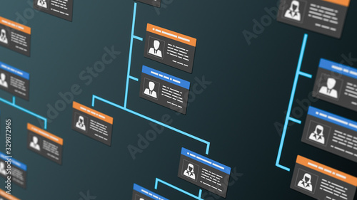 Cuadros en Lienzo company organization chart with employee badges (3d render)