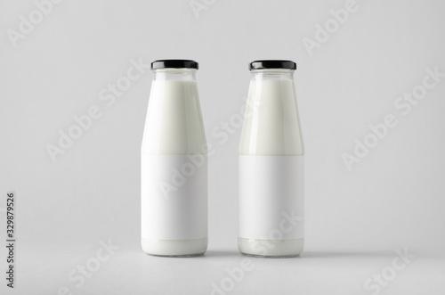 Leinwand Poster Milk Bottle Mock-Up - Two Bottles. Blank Label