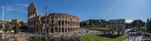 Colosseum and Triumph Arc view, from Fori Imperiali, Rome, Italy Canvas Print