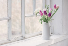 Beautiful Tulips On Old White ...