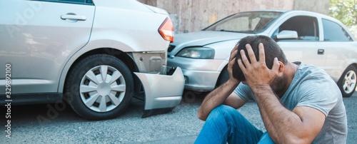 sad man with car accident Canvas Print