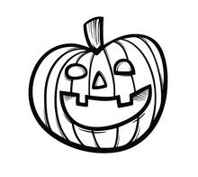 Halloween Pumpkin Icon In Outl...