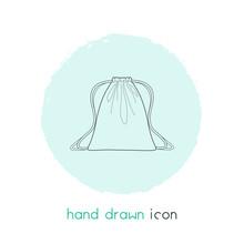 Drawstring Bag Icon Line Element. Vector Illustration Of Drawstring Bag Icon Line Isolated On Clean Background For Your Web Mobile App Logo Design.