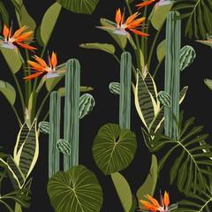Panel Szklany Podświetlane Egzotyczne Tropical jungle plants, Sansevieria, cacti, exotic leaves and strelitzia flowers on black background. Beach seamless pattern.