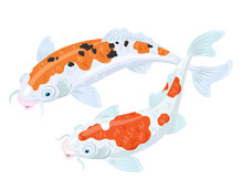 Two White Japanese Koi Carps With Red And Black Spots. Isolated On A White Background. Vector Illustration.