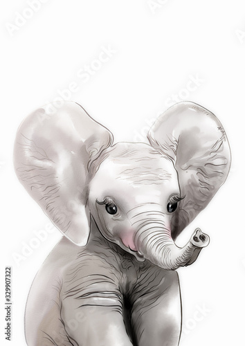 Elephant print • Safari nursery art • PRINTABLE art • Safari animals wall art • Wallpaper Mural