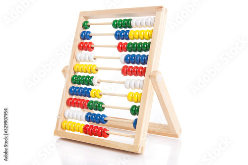 colorful abacus on the white background Canvas Print