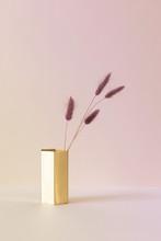 Lila Trockenblume Kanninchen Schwanz In Goldener Vase