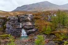 Rocky Waterfall On The Way To Ben Nevis In Scotland On A Misyt Day