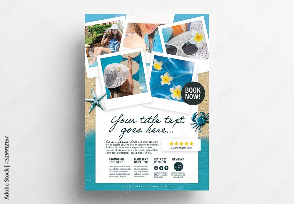 Fototapeta Flyer Layout with Beach Illustration Elements