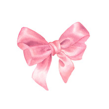 Watercolor Pink Satin Gift Bow. Hand Painted Illustration Isolated On A White Background