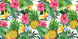 canvas print picture - Seamless floral pattern with pineapples, tropical flowers and leaves.