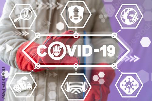 Obraz Coronavirus Industrial Shutdown Concept. COVID-19 Industry Stop. Production Crisis Dangerous Virus Epidemic. Safety Manufacturing Work. - fototapety do salonu