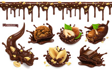 Chocolate Splashes With Peanuts, Hazel Nuts, Chocolate Cookies. Seamless Pattern. 3d Vector Realistic Food Objects Set