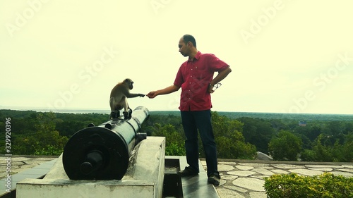 Canvas Print Man Standing Monkey Sitting On Cannon Against Sky