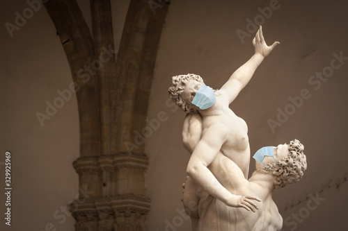 The Kidnapping of the Sabine Women Statue by Giambologna, in the Loggia dei Lanz Canvas Print
