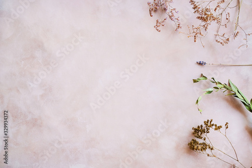 Fototapeta Herbs and dried flowers on pastel pink backdrop. Copy space. Romantic floral background. obraz