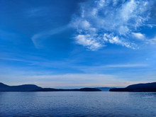 View Of A Vibrant Blue Sky Above The San Juan Islands