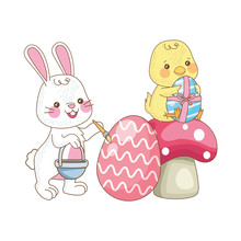 Little Rabbit And Chick With Eggs Painted In Fungus