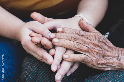 Obraz Young grandchildren's holding older grandmother hands feel with support together, wrinkled skin with feeling take care. World Kindness Day, Adult day center Relationship of Family mother day concept - fototapety do salonu