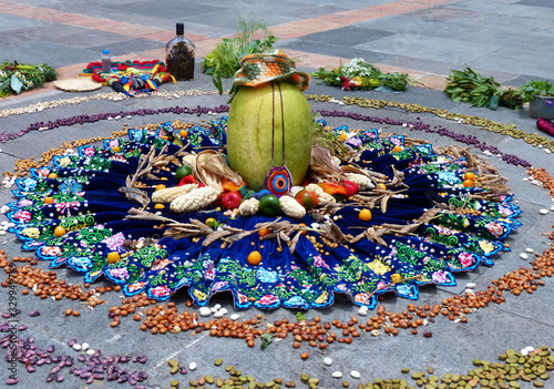 Ritual Chacana or Ceremony in homage to Pachamama (Mother Earth) is an aboriginal ritual of the indigenous peoples of central Andes Canvas Print