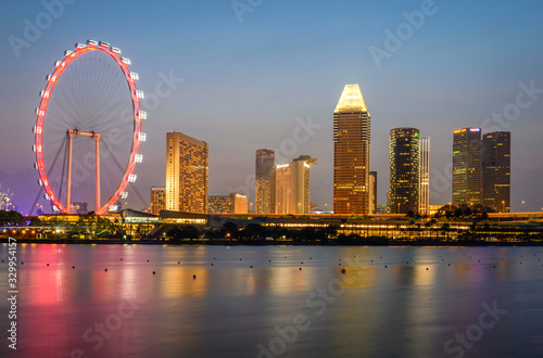 Fotografie, Tablou Singapore, 2019 - Fun never sleep life on Marina Bay, iconic buildings and attractions of the Lion city, must see touristic tour