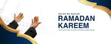 Ramadan Kareem Vector Illustration Background Template With Mal Object Praying By Raising Both Hand In 3d Realistict Design. Eid Mubarak, Islamic Banner, Poster, Web, Flyer,illustration, Brochure
