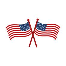 Memorial Day Crossed Flags Nat...