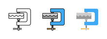 Vise Clamp Icon Set Isolated O...