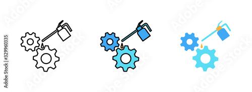 Fotografía Metal oiler icon set isolated on white background for web design