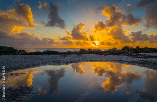 sunrise sunset aquatic lake landscape sunrise sun sea cloud nature dusk beach mi Wallpaper Mural