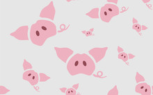Seamless Pattern Vector Illustration With Piglet, Pigs Ears And Tail. Paper, Wallpaper Design For Cafe, Restaurant Or Child Room