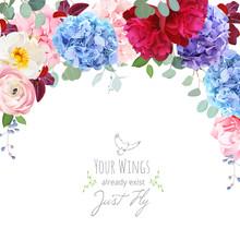 Blue, Purple And Pink Hydrangea, Wild Rose,ranunculus, Carnation, Burgundy Red Peony