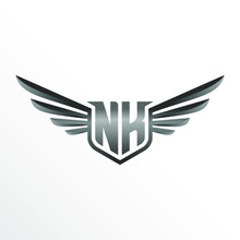 Initial Letter NK With Wings