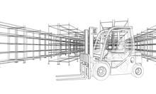 Warehouse Shelves And Forklift. Vector