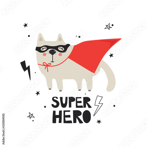 Hand drawn illustration with cat and lettering. Colorful cute background vector. Super hero, poster design. Backdrop with english text, animal, lightnings. Funny card, phrase