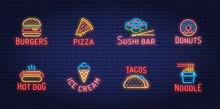 Neon Street Fast Food Logo Set