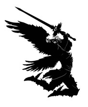 An Angel With A Two-handed Sword Breaks Into Battle Preparing To Make A Mighty Blow. He Has 4 Wings. View In Profile. 2d Illustration.