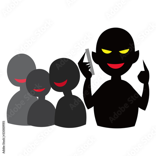 Photo Scam group vector illustration. 犯罪、詐欺グループ