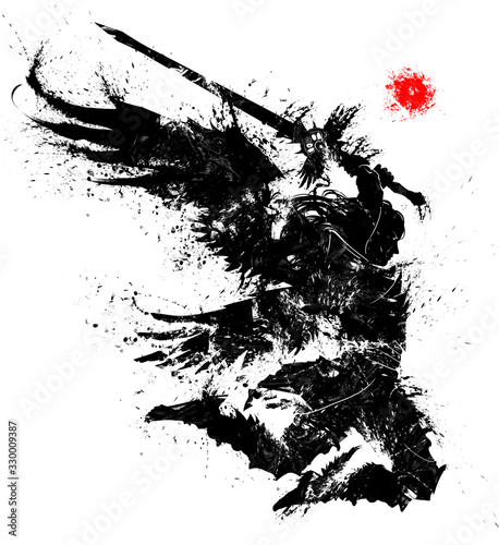 Photo An angel with a two-handed sword breaks into battle preparing to make a mighty blow