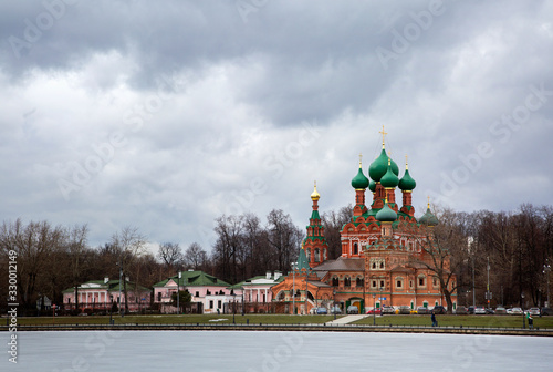 Church of the Life-Giving Trinity in Ostankino, Moscow - a monument of old Russi Canvas Print