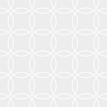 Abstract Geometric Vector Seamless Pattern. White Crossing Circles On Grey Background. Abstract Pattern In Arabic Style. Vector Illustration. Simple Design For Fabric, Wallpaper, Scrapbooking