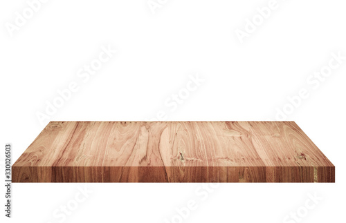 Photo Empty brown old wooden shelf isolated on white background