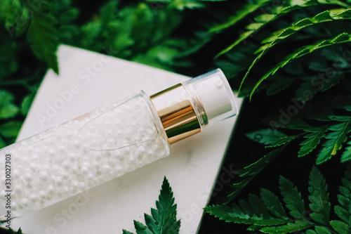 Luxury skincare moisturizing serum gel green garden, natural herbal cosmetics...