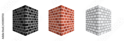 Fototapeta isometric brick wall  isolated on white background illustration vector obraz